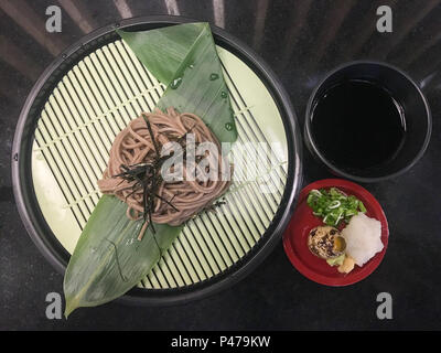 Close Up noodles clod set in luxury japanese restaurant, japanese food style.