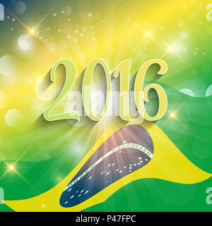 Rio de Janeiro background with abstract flag design - Stock Photo