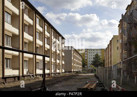Berlin, Germany, redevelopment of apartment buildings in Bouchestrasse corner Heidelberger Strasse in Berlin-Neukoelln - Stock Photo
