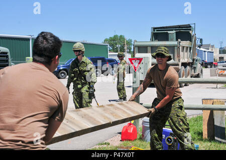 Canadian Armed Forces Cpl. Langlois Etienne and Canadian Armed Forces Cpl. Jeremie Trottier, of the 5e Régiment du génie de combat, dispose of old bridge material from a pedestrian foot bridge restoration as part of the Golden Coyote exercise, Custer, S.D., June 15, 2016. The Golden Coyote exercise is a three-phase, scenario-driven exercise conducted in the Black Hills of South Dakota and Wyoming, which enables commanders to focus on mission essential task requirements, warrior tasks and battle drills. (U.S. Army photo by Spc. Robert West /Released) - Stock Photo