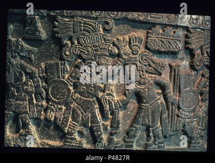 PIEDRA DE TIZOC-EL 7 TLATOANI EN HONOR AL SOL. Location: MUSEO NACIONAL DE ANTROPOLOGIA, MEXICO CITY, CIUDAD DE MEXICO. - Stock Photo