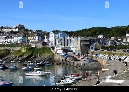 Picturesque fishing village at New Quay Wales - Stock Photo