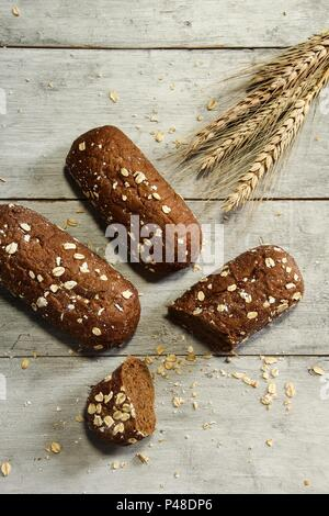 Chocolate Oats bread top down view - Stock Photo