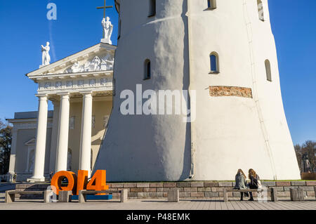 Vilnius Cathedral and belfry at Cathedral Square, Vilnius, Lithuania, Europe - Stock Photo