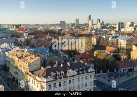 Vilnius old town and Snipiskes district. Vilnius, Lithuania, Europe - Stock Photo
