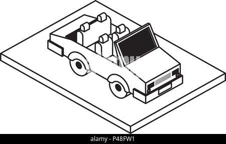 convertible car isometric icon - Stock Photo
