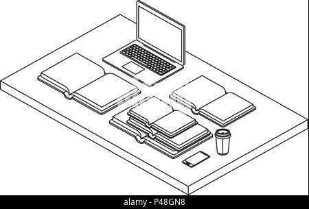 Work Place Scene Isometric Icons Stock Vector Art Illustration
