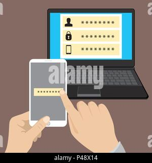 Online security, data protection and antivirus software. Modern vector illustration for web design, marketing and print material. - Stock Photo