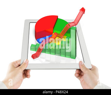 Hand holding tablet with 3d Chart in white background - Stock Photo