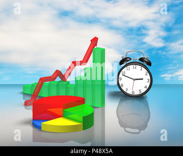 Clock with 3D chart on glass table blue sky background - Stock Photo