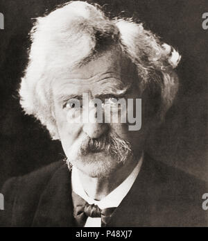 Samuel Langhorne Clemens, 1835 -1910, better known by his pen name Mark Twain. American writer, humorist, entrepreneur, publisher, and lecturer.  After a contemporary print. - Stock Photo