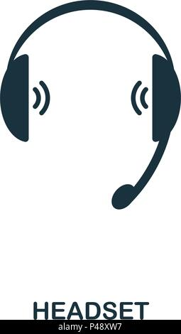 Headset icon. Line style icon design. UI. Illustration of headset icon. Pictogram isolated on white. Ready to use in web design, apps, software, print. - Stock Photo