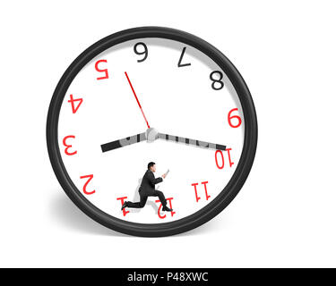 Businessman running inside clock isolated in white background - Stock Photo