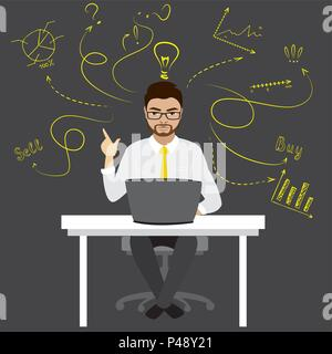 Businessman or office worker sitting at the computer,finance idea concept with doodle signs,vector illustration - Stock Photo