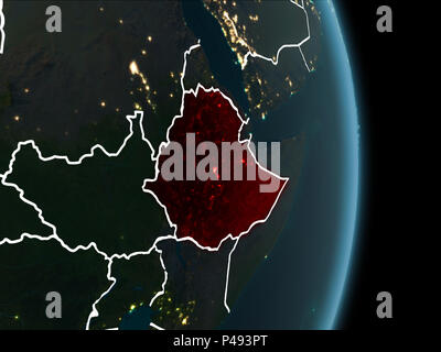 Map of Ethiopia in red as seen from space on planet Earth at night with white borderlines and city lights. 3D illustration. Elements of this image fur - Stock Photo