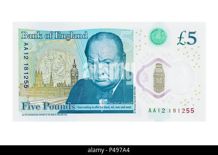 New Five Pound Note Showing Winston Churchill, UK, Cut Out - Stock Photo