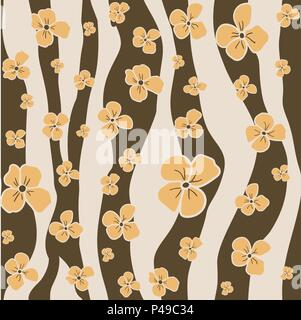 Vector seamless pattern - simple ocher flowers on abstract brown and gray colors background. Floral modern design. Minimalism style. - Stock Photo