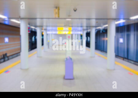 blur japan subway underground train station no people for background. - Stock Photo