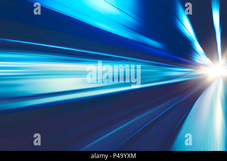 High speed business and technology concept, Acceleration super fast speedy motion blur of train station for background design. - Stock Photo