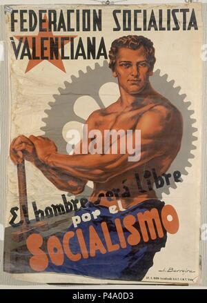 CARTEL DE LA GUERRA CIVIL - FEDERACION SOCIALISTA VALENCIANA. Author: J. Barreira (20th cent.). Location: ARCHIVO HISTORICO NACIONAL, SALAMANCA. - Stock Photo
