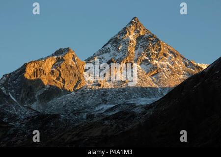 Mount Torrone di Nav at sunset in winter, valle di blenio, canton ticino, swizterland - Stock Photo