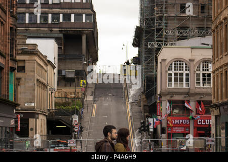 Glasgow, Scotland, UK. 20th June, 2018. After the major fires on Friday night and Saturday morning, investigators have begun their work on the destroyed Glasgow School of Art Mackintosh Building, and the severely damaged O2 ABC concert venue on Sauchiehall Street. The historic site has now been handed over to Glasgow City Council's building control team, although the Scottish Fire and Rescue Service remains on the scene. The exclusion zone has been reduced, but safety cordons still cover a considerable area. Iain McGuinness / Alamy Live News - Stock Photo
