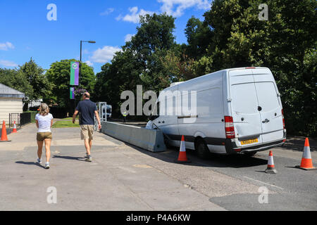 Wimbledon London UK. 21st  June 2018. Anti Terror Security steel barriers to prevent a  London Bridge-style attack and vehicles mounting the pavement have been installed along Church Road ahead of the Wimbledon Tennis championships which begin on 2 JulCredit: amer ghazzal/Alamy Live News - Stock Photo