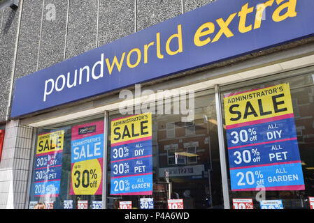 Wood Green, London, UK. 21st June 2018. The Poundworld Extra store in Wood Green, North London starts an administration sale, the group is still searching for a buyer. Credit: Matthew Chattle/Alamy Live News - Stock Photo