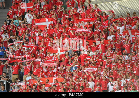 Samara Arena, Samara, Russia. 21st June, 2018. FIFA World Cup Football, Group C Denmark versus Australia; Danish fans massed ready for the game Credit: Action Plus Sports/Alamy Live News - Stock Photo