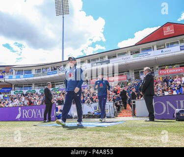 Chester-Le-Street, UK. Thursday 21st June 2018 , Emerald Emirates Riverside,Chester-le-Street, 4th ODI Royal London One-Day Series England v Australia; England walk out Credit: News Images /Alamy Live News - Stock Photo
