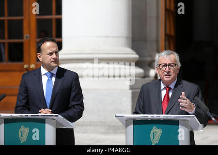 'Ireland Comes First'. Statement by Jean Claude Junker, President of the European Commission, when referring to the Brexit negotiations with the UK, during a visit to Dublin, Ireland - Stock Photo