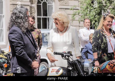 London, UK. 21st June 2018. HRH The Duchess of Cornwall, Joint President of The Elephant Family, officially launches the Concours d'éléphant, a cavalcade of traditional Indian vehicles. The convoy will tour London to raise awareness of the charity's work to protect the Asian elephant from extinction in the wild. Credit: amanda rose/Alamy Live News - Stock Photo
