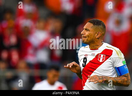 Yekaterinburg, Russia. 21st June, 2018. YEKATERINBURG, RUSSIA - JUNE 21, 2018: Peru's Paolo Guerrero in the 2018 FIFA World Cup Group C Round 2 football match against France at Yekaterinburg Arena. Donat Sorokin/TASS Credit: ITAR-TASS News Agency/Alamy Live News - Stock Photo