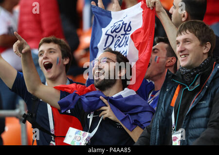 Yekaterinburg, Russia. 21st June, 2018. Fans of France cheer prior to the 2018 FIFA World Cup Group C match between France and Peru in Yekaterinburg, Russia, June 21, 2018. Credit: Bai Xueqi/Xinhua/Alamy Live News - Stock Photo