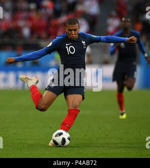 Yekaterinburg, Russia. 21st June, 2018. Kylian Mbappe of France competes during the 2018 FIFA World Cup Group C match between France and Peru in Yekaterinburg, Russia, June 21, 2018. Credit: Du Yu/Xinhua/Alamy Live News - Stock Photo