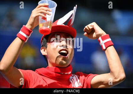 Samara, Russland. 21st June, 2018. Danish fan, football fan, man, male., Denmark (DEN) - Australia (AUS) 1-1, Preliminary Round, Group C, Match 22, on 21.06.2018 in Samara, Samara Arena. Football World Cup 2018 in Russia from 14.06. - 15.07.2018. | usage worldwide Credit: dpa/Alamy Live News - Stock Photo
