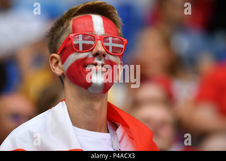 Samara, Russland. 21st June, 2018. Danish Fan, Football Fan, Young Man, Denmark (DEN) - Australia (AUS) 1-1, Preliminary Round, Group C, Match 22, on 21.06.2018 in Samara, Samara Arena. Football World Cup 2018 in Russia from 14.06. - 15.07.2018. | usage worldwide Credit: dpa/Alamy Live News - Stock Photo