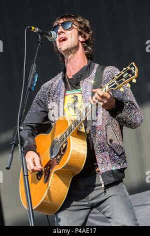 Milan Italy. 21 June 2018. The English singer and songwriter RICHARD ASHCROFT perform live on stage at the Area EXPO - Experience Milano during the 'I-Days Festival 2018' - Stock Photo