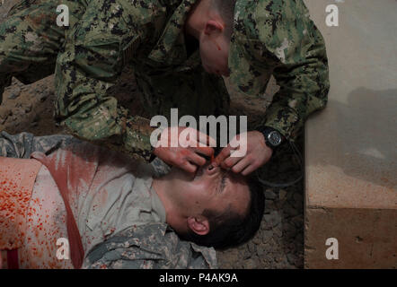 U.S. Army Spc. Kyle Davidson, 403rd Civil Affairs Battalion simulated casualty volunteer, receives a nasopharyngeal airway during a combat lifesaver course practical exam June 23, 2016, at Camp Lemonnier Djibouti. Soldiers from the 403rd CA BN assigned to Combined Joint Task Force-Horn of Africa taught fellow service members and French military members how to potentially say a life. (U.S. Air Force photo by Staff Sgt. Eric Summers Jr.) - Stock Photo