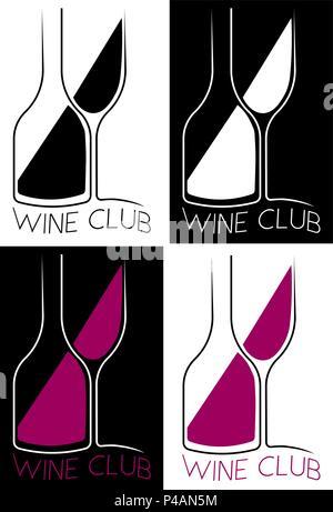 bottle and glass with wine wine club minimalist restaurant logo, bar - Stock Photo
