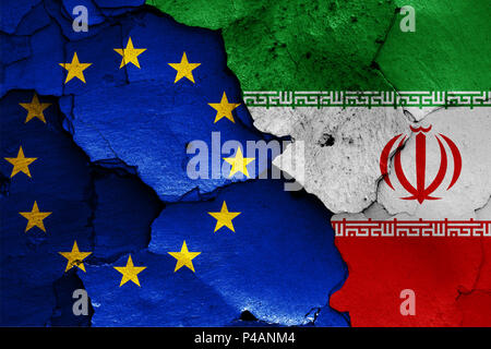 flags of EU and Iran - Stock Photo