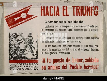 CARTEL DE LA GUERRA CIVIL - HACIA EL TRIUNFO. Location: ARCHIVO HISTORICO NACIONAL, SALAMANCA, SPAIN. - Stock Photo