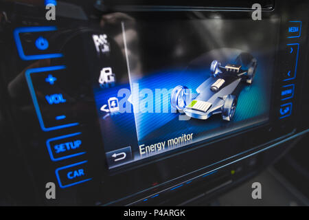 energy monitor hybrid car - Stock Photo