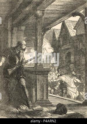 Assassination of James Stewart, 1st Earl of Moray, Regent of Scotland, Linlithgow, Scotland, 23 January 1570 - Stock Photo
