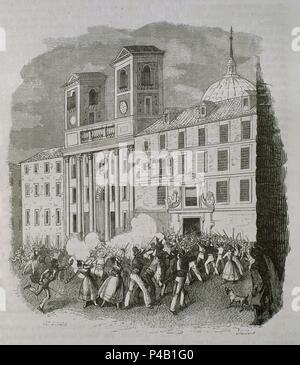 ASESINATO DE JESUITAS DEL COLEG IMPERIAL DE SAN ISIDRO POR CREER ENVENENAN AGUA.MADRID17/7/1834. - Stock Photo