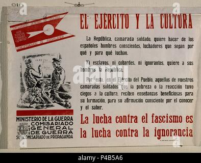 CARTEL DE LA GUERRA CIVIL - EL EJERCITO Y LA CULTURA. Location: ARCHIVO HISTORICO NACIONAL, SALAMANCA. - Stock Photo
