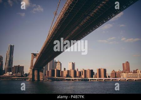 USA, New York City, Brooklyn bridge with Manhattan view - Stock Photo