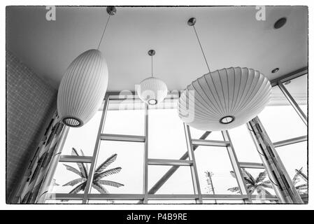 USA, New Jersey, The Jersey Shore, Wildwoods, 1950s-era Doo-Wop architecture, motel interior - Stock Photo