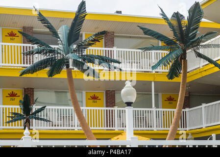 USA, New Jersey, The Jersey Shore, Wildwoods, 1950s-era Doo-Wop architecture, motel palms - Stock Photo