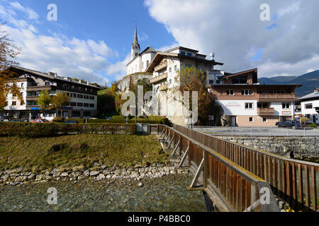 Kaprun, church, stream Kapruner Ache, Pinzgau, Salzburg, Austria - Stock Photo